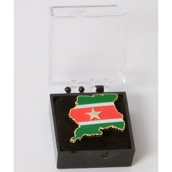 Pins mit dem Flagge von Suriname.