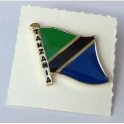Pins mit dem Flagge von Tanzania.